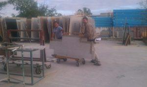 Moving Granite Slabs in Storeage Yard