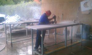 Cutting edge profiles on a granite countertop