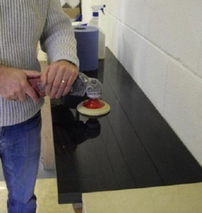 granite countertop being repaired by buffing
